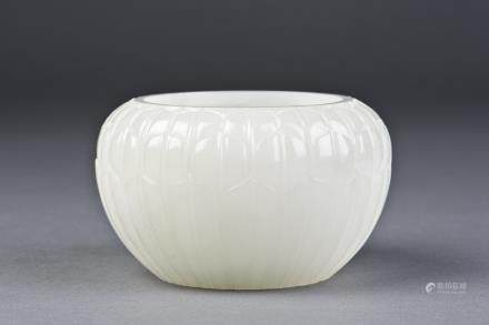 A WHITE JADE BRUSH WASHER