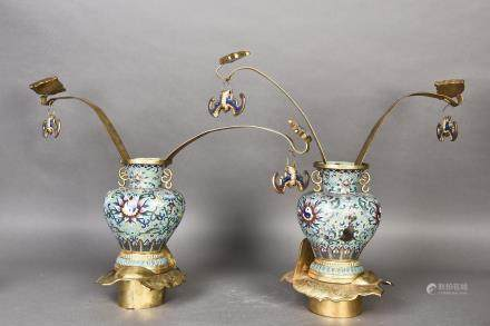 AN UNIQUE PAIR OF IMPERIAL CLOISONNE VASES