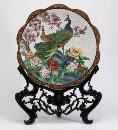 Chinese cloisonne enamel charger with carved stand