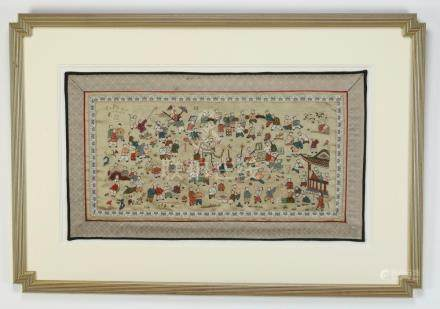 Chinese framed embroidered panel, '100 Boys' motif