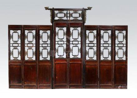 "Chinese pierce carved 8-panel partition, 164""l"