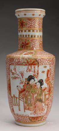 Chinese iron red & gilt vase w/ beauties and children