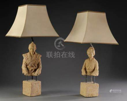 Pair of Chinese ancestor bust lamps