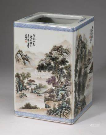 Chinese famille verte brush pot with landscape scenes