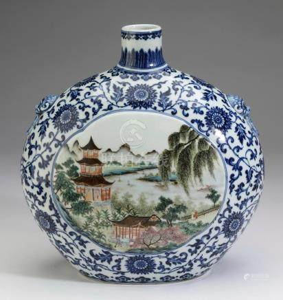 Chinese moon flask with pagoda landscape scenes