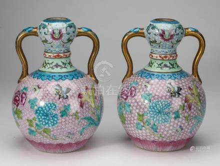 (2) Chinese butterfly vases,with floral blossoms