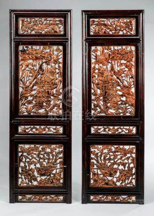 "(2) Carved Asian architectural panels, 54""h"