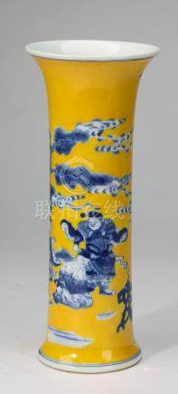 Chinese trumpet vase with 'six ancient arts' motif