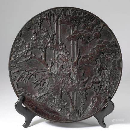 Chinese carved wood 'Three Friends of Winter' charger