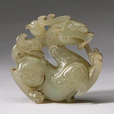"Chinese pierce carved jade dragon hand piece, 2""dia"