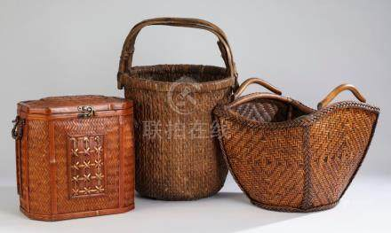 Group of (3) Chinese woven baskets