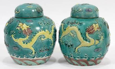 CHINESE 5 CLAW DRAGONS GLAZED POTTERY GINGER JARS