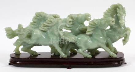 """CHINESE CARVED 6 HORSES SCULPTURE H 7"""" W 14.5"""""""