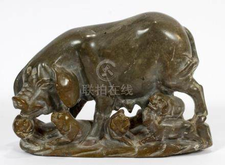 CHINESE CARVED HARD STONE FIGURE SOW WITH PIGLETS
