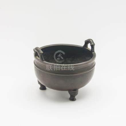 Petit brûle-parfum tripode en bronze à patine brune, paroi hémisphérique soulig