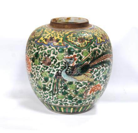 Antique Chinese famille verte jar of ovoid form, decorated with phoenix amongst peonies and foliage,