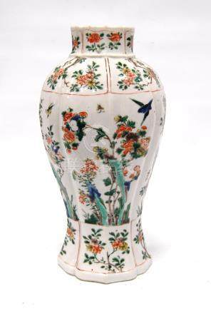 19th century famille verte vase decorated with blossom and birds, 27cm high.