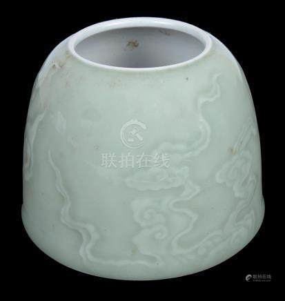 A Chinese Celadon Beehive Water Pot: With continuous cloud design,