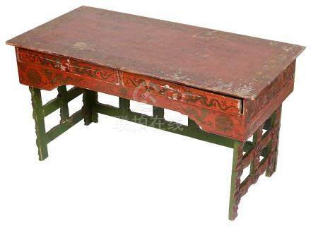 An Oriental Painted Side Table: The red lacquered top with with gilded dragon and traditional
