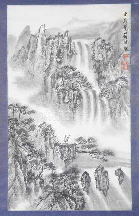 A Collection of Five Chinese Scrolls: Depicting various traditional landscape,