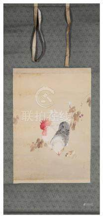 Chinese School (late 19th/early 20th century): A rooster, hen & chick before fiolage, watercolour,