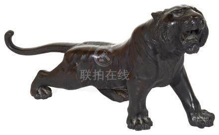 A Japanese Bronze Tiger, Signed 'Seiya': Meiji Period (1868-1912),