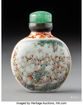 A Chinese Enameled Porcelain Snuff Bottle, Qing Dynasty. Marks: (Xi Gu Tang Zhi). 2-3/8 x 1-3/4