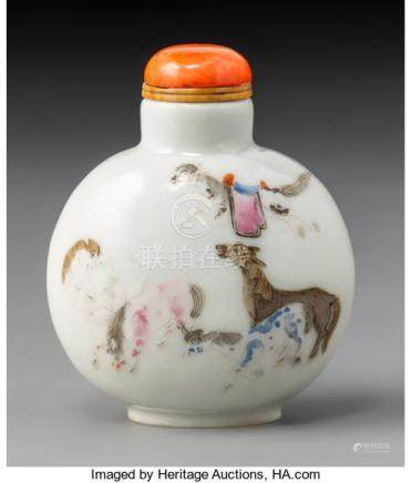 A Chinese Enameled Porcelain Horses Snuff Bottle, Qing Dynasty. Marks: (red four-c...