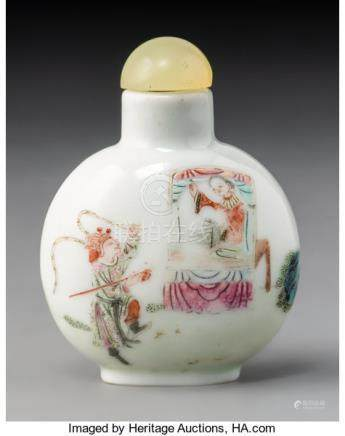 A Chinese Enameled Porcelain Warrior and Beauty Snuff Bottle, Qing Dynasty. Marks:...