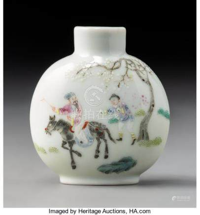 A Chinese Enameled Porcelain Scholar Attendant Snuff Bottle, Qing Dynasty. Marks: ...