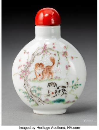 A Chinese Enameled Porcelain Pekingese Snuff Bottle, late Qing Dynasty. Marks: (ap...