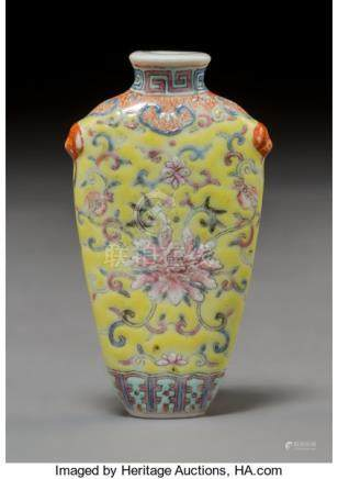 A Chinese Enameled Porcelain Peony Snuff Bottle, Qing Dynasty. Marks: (four-charac...