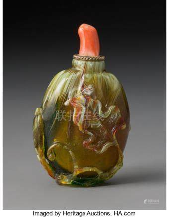 A Chinese Peking Glass Melon-Form Snuff Bottle with Coral Stopper, Qing Dynasty. 2-5/8 x 2-1/2
