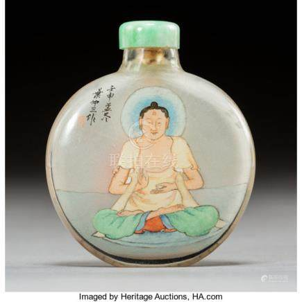A Chinese Ye Family Inside-Painted Snuff Bottle Depicting Buddha, early 20th century. Marks: (Y