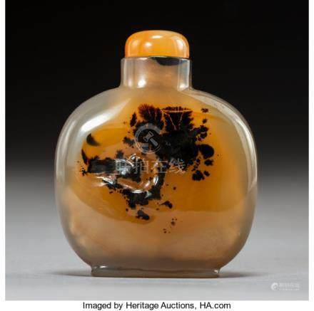A Chinese Silhouette Agate Snuff Bottle Depicting a Bird and Tree, Qing Dynasty. 2-1/4 x 2 inch