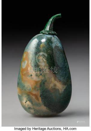 A Chinese Moss Agate Pebble Snuff Bottle, Qing Dynasty, 19th century. 2-3/4 x 1-1/...