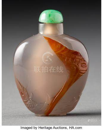 A Chinese Carved Agate Crane Snuff Bottle, late Qing Dynasty. 1-7/8 x 1-3/8 x 3/8 inches (4.8 x