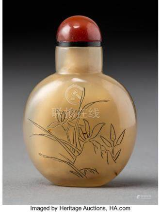 A Chinese Inscribed Agate Orchid Snuff Bottle, late Qing Dynasty. 2-1/4 x 1-1/2 x ...