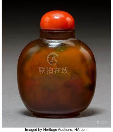 A Chinese Inside-Painted Agate Snuff Bottle, early 20th century. 2-3/4 inches (7.0 cm). ...
