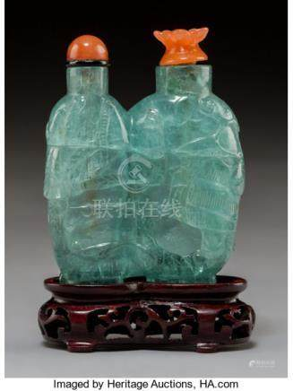 An Aquamarine Double Snuff Bottle with Carnelian Stoppers. 2-1/2 x 2 inches (6.4 x 5.1 cm) (exc