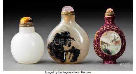 A Group of Three Various Chinese Snuff Bottles, Qing Dynasty. 2-3/4 x 2 x 3/4 inches (7.0 x 5.1