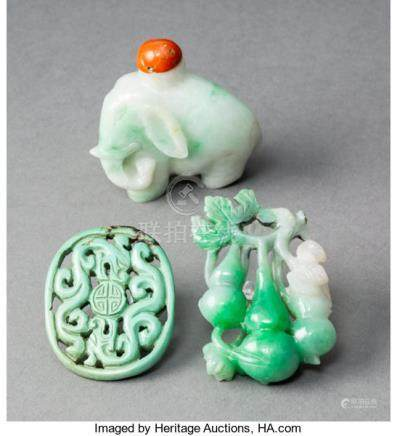 A Chinese Jadeite Elephant Snuff Bottle and Two Jadeite Carvings. 1-5/8 inches (4....