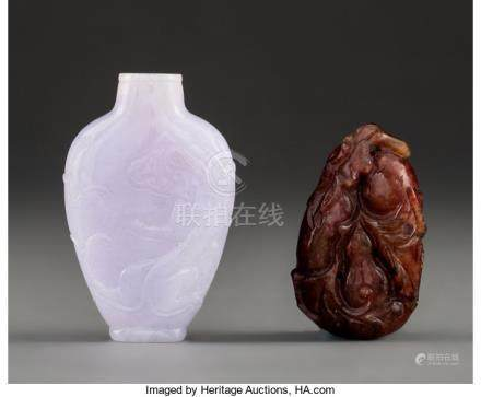 A Chinese Carved Lavender Jadeite Snuff Bottle with a Chinese Carved Red Hardstone Gourd-Form T