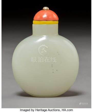 A Chinese White Jade Snuff Bottle, Qing Dynasty. 2-1/2 x 2 inches (6.4 x 5.1 cm). PROVENANCE: .