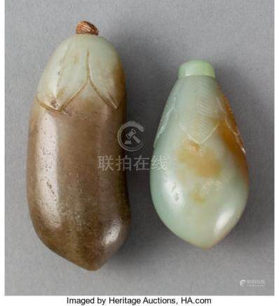 Two Chinese Jade Eggplant Snuff Bottles, Qing Dynasty. 2.625 inches (6.667 cm) (la...