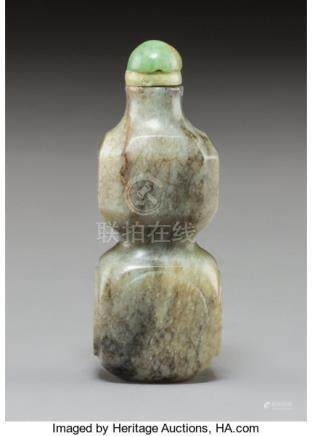 A Chinese Carved Grey Jade Double Gourd Snuff Bottle, Qing Dynasty. 3 x 1-1/8 x 3/4 inches (7.6