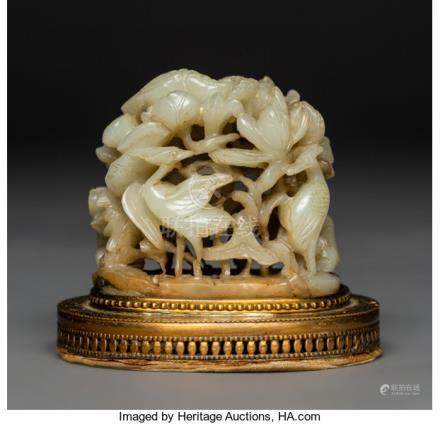 A Chinese Carved Jade and Gilt Metal Censer Finial, Yuan Dynasty. 3 x 3-1/2 x 2-1/2 inches (7.6
