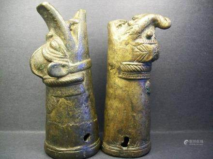 Pair Of Finely Chinese Copper and Bronze Dragon and Tiger Handles