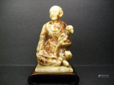 A Fine and Rare Antiques Shou-Shan Fu-Rong Stone Carved a Maiden and  Pigeon Decoration: