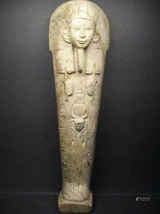 A fine and rare old stone carving tall figure of a standing Egyptian pharaoh, Tall:30cm.